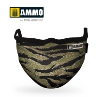 """A.MIG-8069 - AMMO FACE MASK """"Tiger Camo"""" (Hygienic protective mask 100% polyester)"""