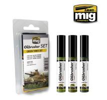 A.MIG-7502 - OILBRUSHER GREEN TONES SET