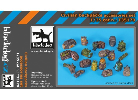 Black Dog - Civilian backpacks accessories set 1:35