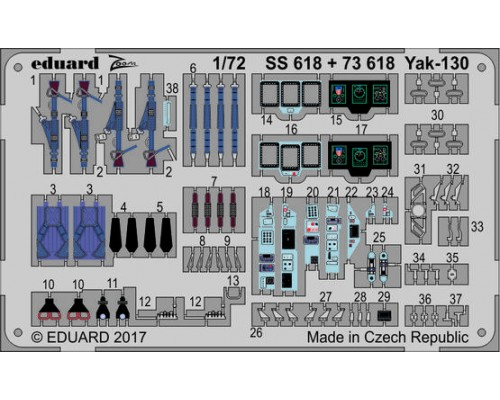 Eduard 73618 - Yak-130 1:72 photo etch set (Zvezda)