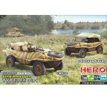 Hero Hobby H35003 - 1:35 Schwimmwagen Type 166 (2in1 + MG34 and canvas cover)