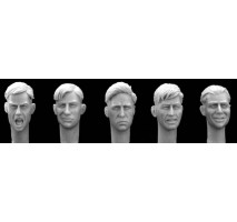 Hornet - Figurine resin - 5 bare heads WWII Haircuts (shouting, smiling, grinning, smirking