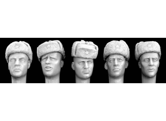 Hornet - Figurine resin - 5 heads wearing Soviet winter fur caps