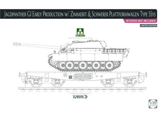 TAKOM 2125X - 1:35 Jagdpanther G1 EARLY on Schwerer Plattformwagen Type SSYs