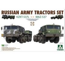 TAKOM 5003 - 1:72 Russian Army Tractors Set KZKT-537L 1+1 MAZ-537