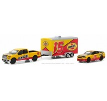 GreenLight 31050-C - 2015 Ford F-150 & 2012 Shelby GT500 Pennzoil with Enclosed Car Hauler Solid Pack - Racing Hitch & Tow Series 1