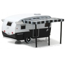 GreenLight 34040-F - Shasta Airflyte - Black and White with Awning Solid Pack - Hitched Homes Series 4
