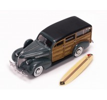 SUN STAR 6177 - 1939 Chevrolet Woody Surf Wagon - Granville Gray (With Surf Board) + Real Wood