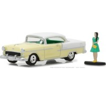 GreenLight 97030-B - 1955 Chevy Bel Air with Woman in Dress Solid Pack - The Hobby Shop Series 3