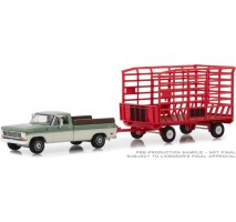 GreenLight 32150-A - 1969 Ford F-100 Farm & Ranch Special (Long Bed) with Bale Throw Wagon Solid Pack - Hitch & Tow Series 15