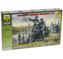 Zvezda 3632 - 1:35 German R-12 Heavy Motorcycle with rider and officer